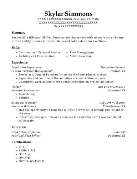 insulation supervisor resume