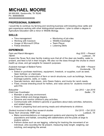 Enchanting Cattle Ranch Manager Resume Mold - Best Resume Examples ...