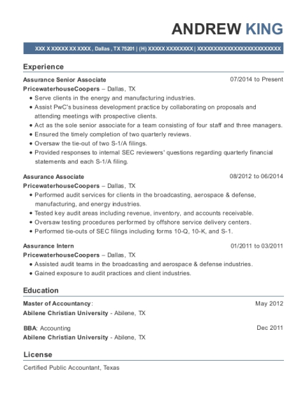 Pricewaterhousecoopers Assurance Senior Associate Resume Sample ...
