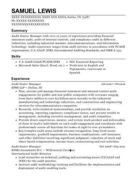 best audit senior resumes