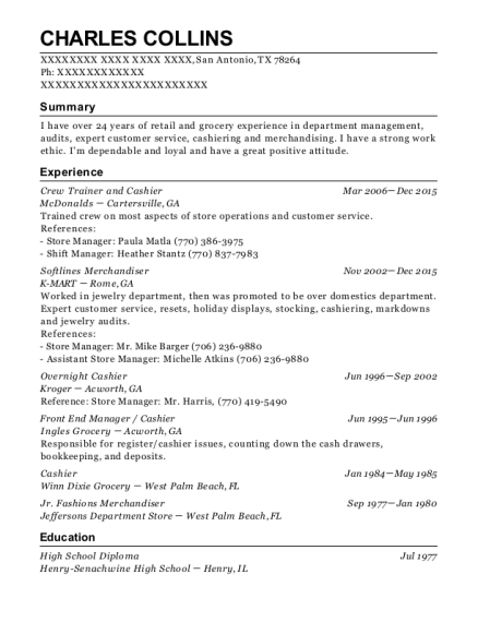 View Resume Crew Trainer And Cashier