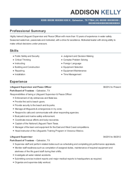 Park Board Of Trustees Lifeguard Supervisor And Peace Officer Resume