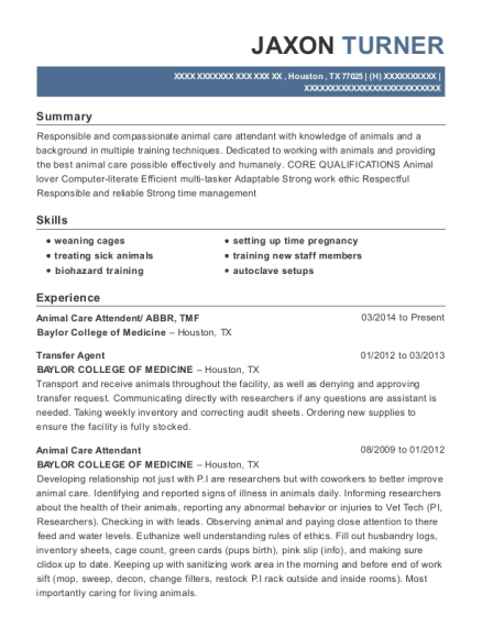 view resume animal care - Animal Care Resume