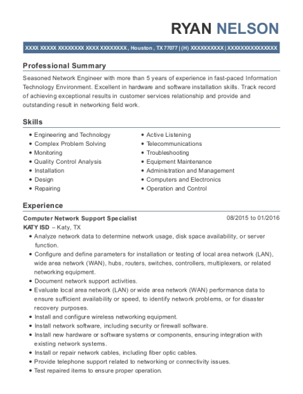 View Resume. Computer Network Support Specialist