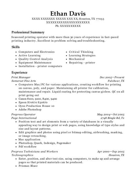 best prepress operator resumes resumehelp