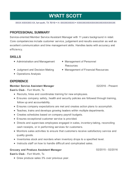 Sam\'s Club Member Service Assistant Manager Resume Sample - Fort ...