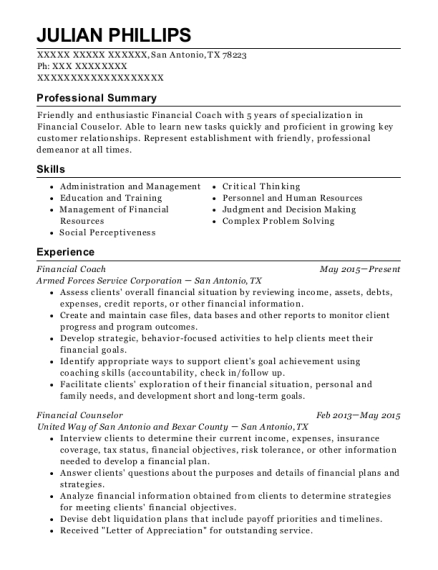 Armed Forces Service Corporation Financial Coach Resume Sample - San ...