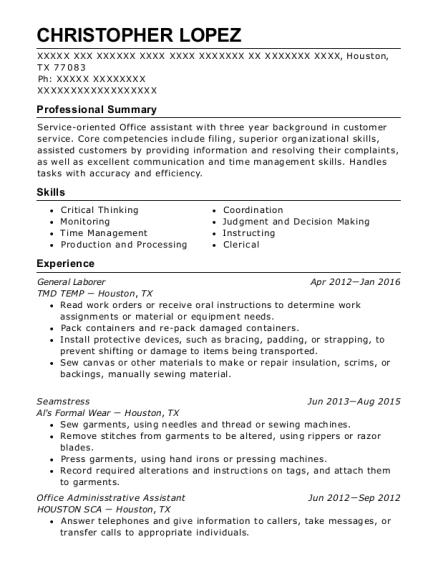 best seamstress resumes resumehelp - Seamstress Resume