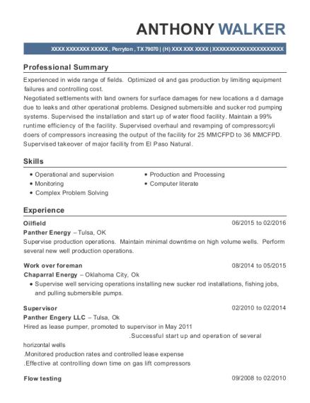 Panther Energy Oilfield Resume Sample - Perryton Texas | ResumeHelp