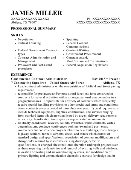 james miller - Contract Administrator Resume