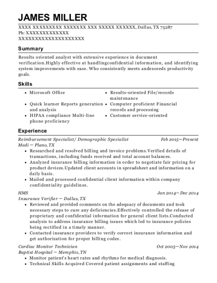 Resume View Resume. Reimbursement Specialist/ Demographic Specialist