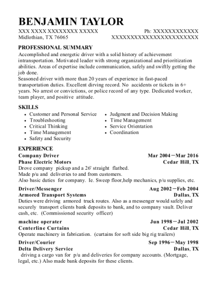 view resume - Sample Resume For Driver Messenger