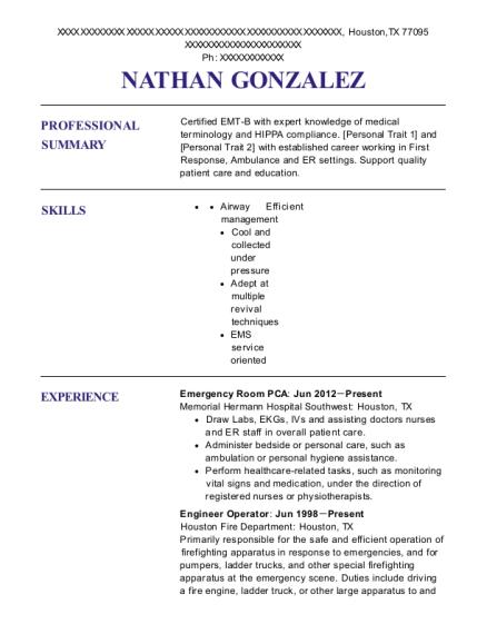 view resume emergency room pca