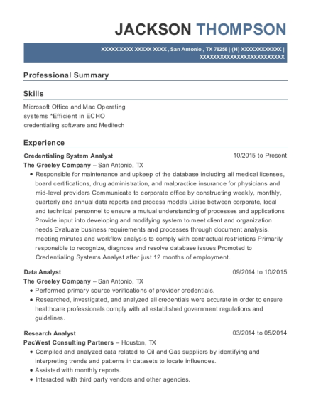The Greeley Company Credentialing System Analyst Resume Sample - San ...