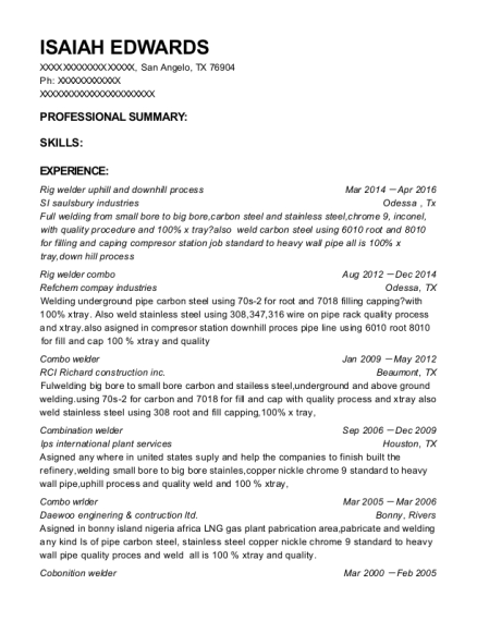 Combination Welder , Combination Welder. Customize Resume · View Resume