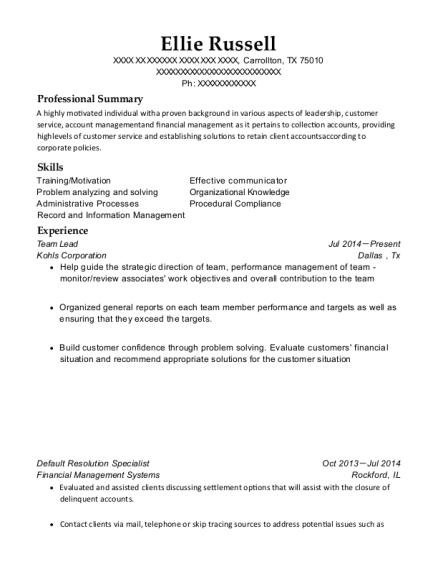 financial management specialist resume