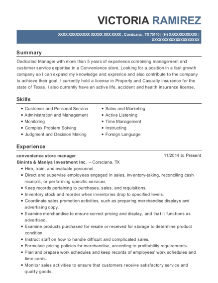 Convenience Store Manager Customize Resume View