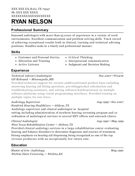 Best Clinical Audiologist Resumes | ResumeHelp