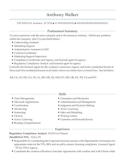 Best Regulatory Compliance Analyst Resumes ResumeHelp