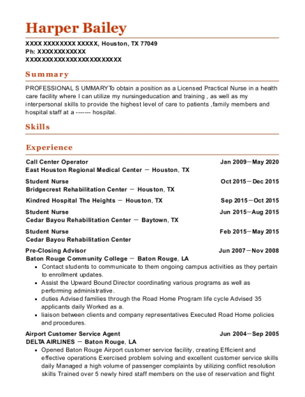 airline customer service agent resume