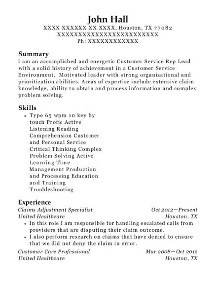 united healthcare claims adjustment specialist resume sample