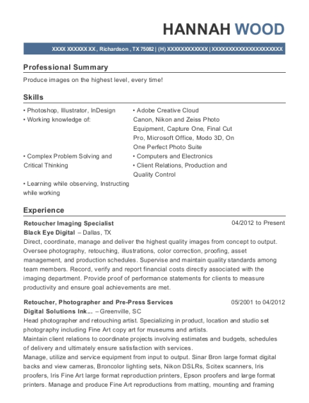 View Resume. Retoucher Imaging Specialist