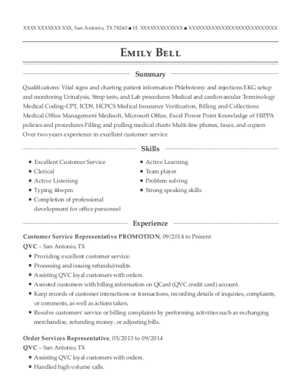 view resume customer service representative promotion