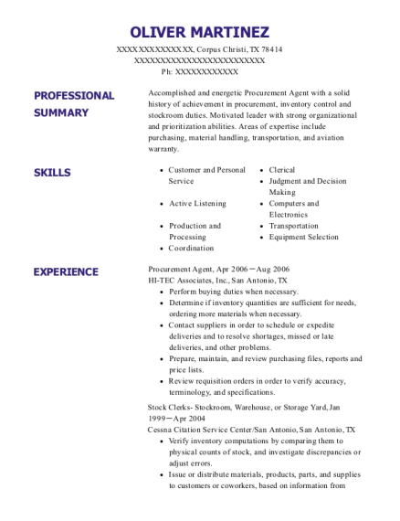 the boeing company procurement agent resume sample