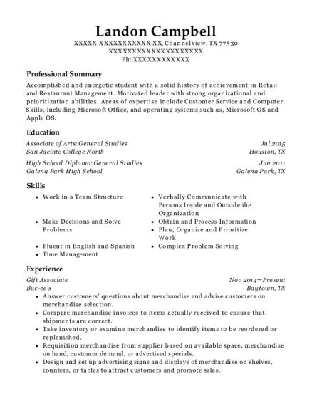 buc ees gift associate resume sample channelview texas resumehelp