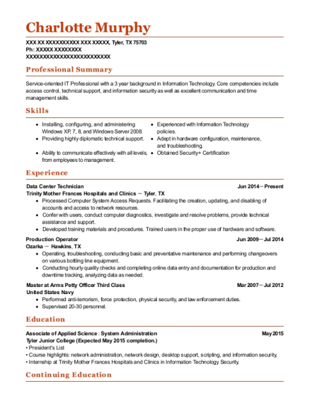 charlotte murphy - Data Center Technician Resume