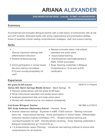 best 6th grade elar teacher resumes