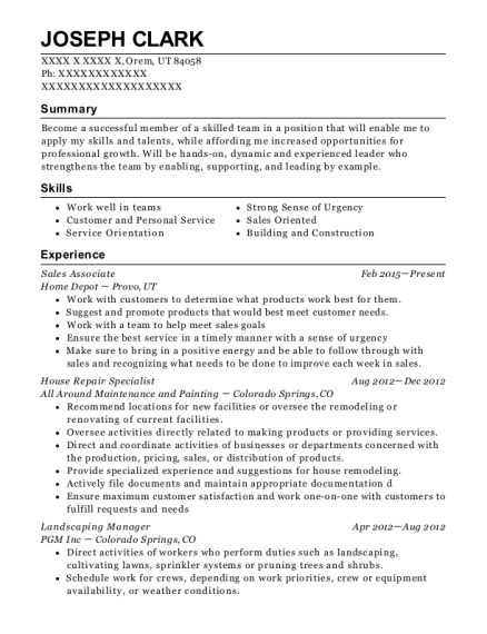 Hes Handy Landscaping Manager Resume Sample - Apopka Florida ...