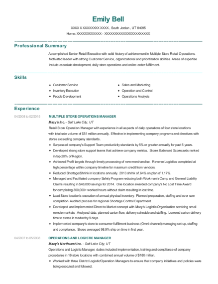 Macys Inc Multiple Store Operations Manager Resume Sample - South
