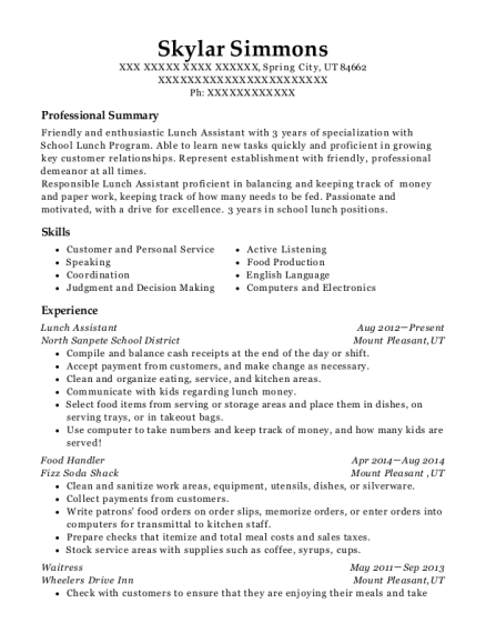 People Also Search For. Customize Resume · View Resume. Lunch Assistant