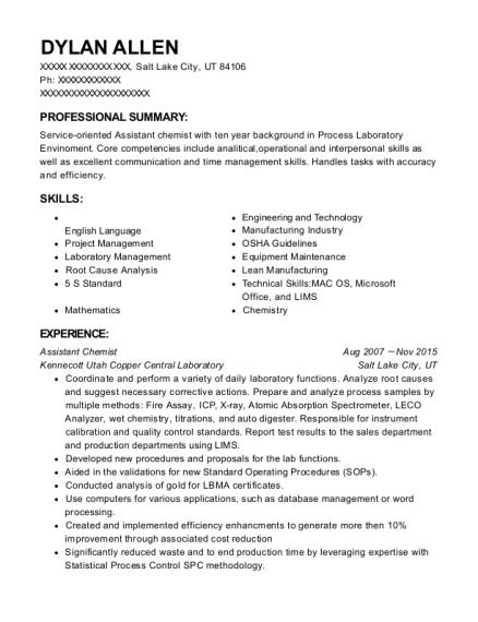 Kennecott Utah Copper Central Laboratory Assistant Chemist Resume ...