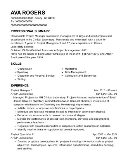 Arup Laboratories Project Manager I Resume Sample - Sandy Utah ...