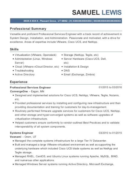 Convergeone Professional Services Engineer Resume Sample Pleasant