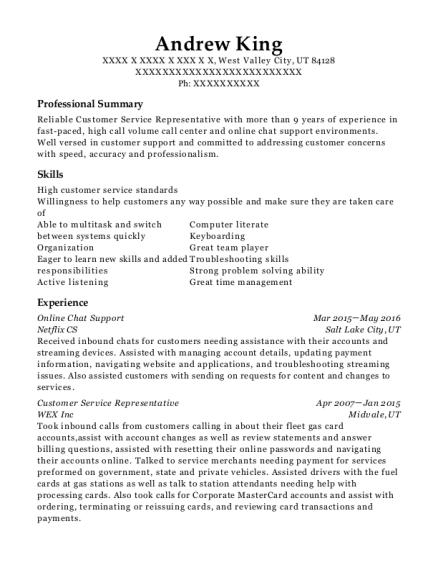 netflix cs online chat support resume sample west valley city utah