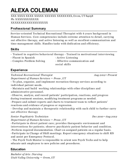 department of human services technical recreational therapist resume