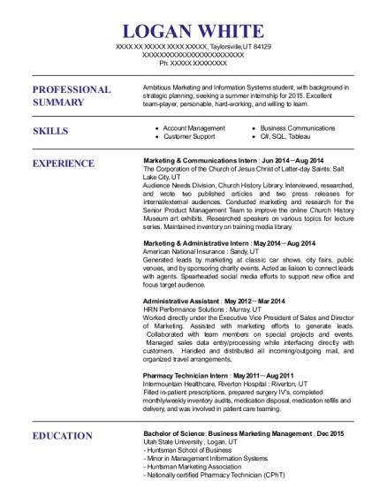 Best Marketing & Administrative Intern Resumes | ResumeHelp