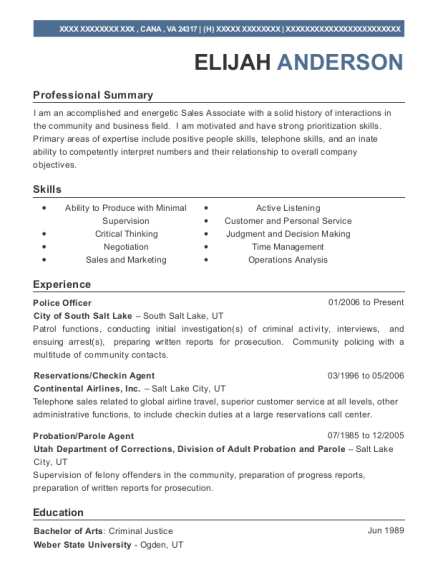 View Resume Police Officer