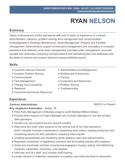view resume contract administrator
