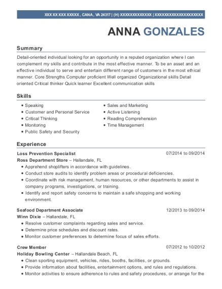 Ross Department Store Loss Prevention Specialist Resume Sample ...