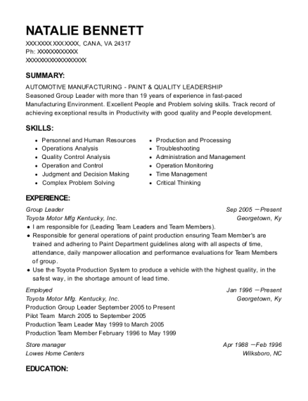View Resume. Group Leader
