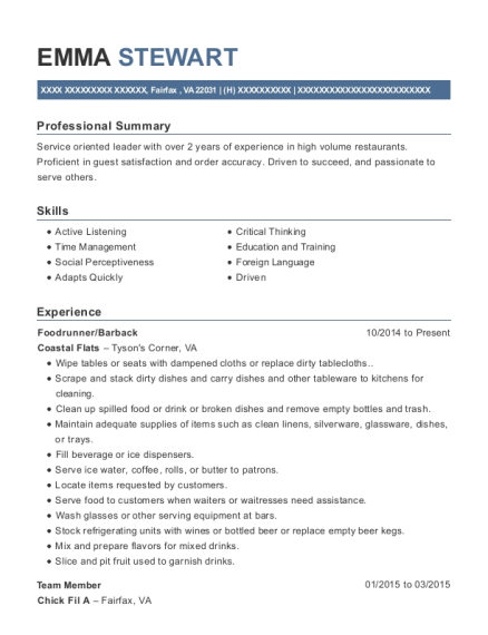 Barback Resume Skills attractive barback resume no experience gift administrative View Resume