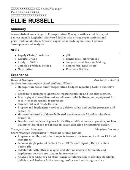 Ellie Russell  Transportation Manager Resume