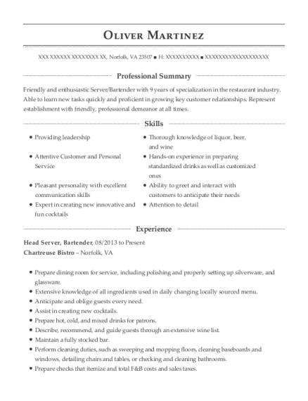 oliver martinez - Server Bartender Resume