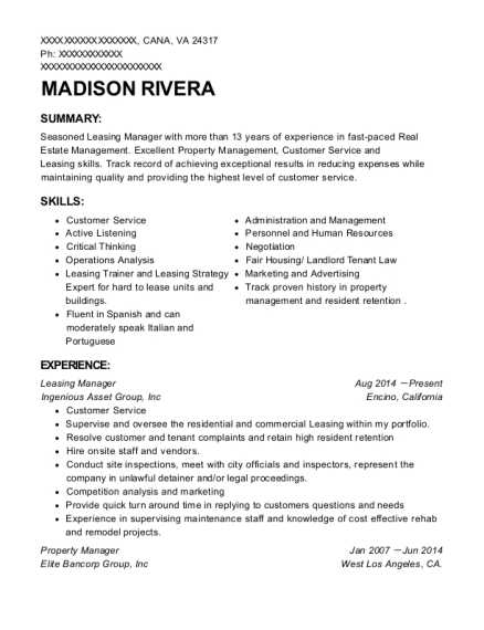 view resume - Leasing Manager Resume