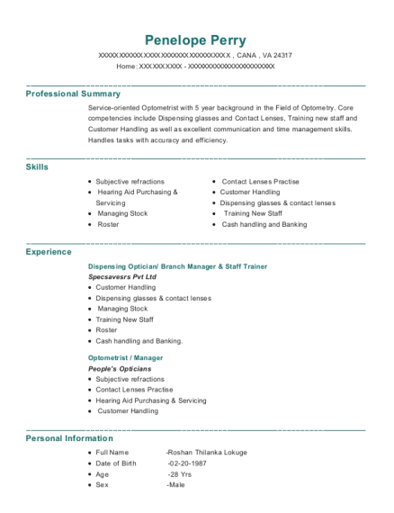 self employed optometrist resume sample