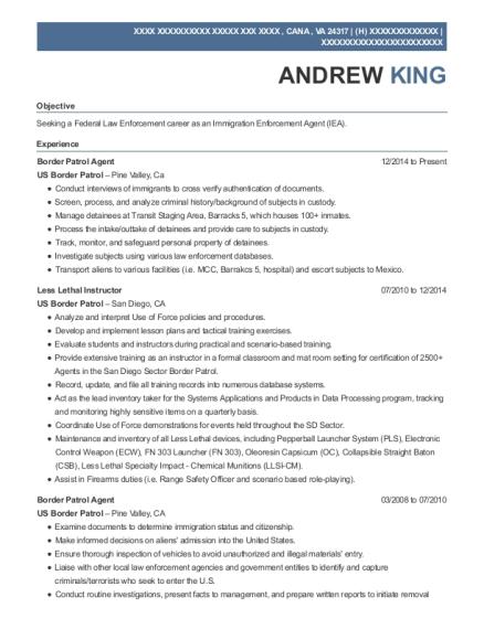 View Resume. Border Patrol Agent